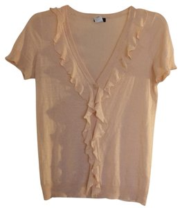 J.Crew Silk Linen Knit Ruffle V-neck Top Pink