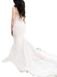 Ivory French Belgian and Spanish Lace Formal Wedding Dress Size 0 (XS)