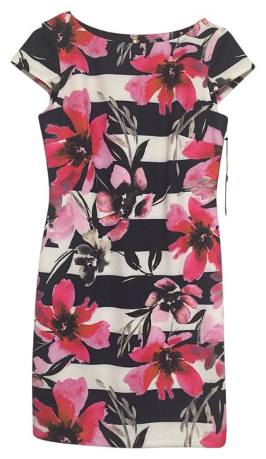 Item - Pink New Floral and Stripe Short Work/Office Dress Size 8 (M)