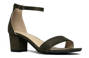 J. Adams Open Toe Heel Ankle Strap Olive Suede Sandals