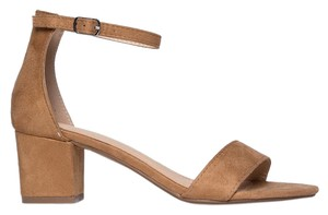 J. Adams Open Toe Heel Ankle Strap Suede Tan Sandals