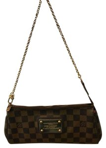 Louis Vuitton Gold Chain Brown Damier Canvas Ebene Brown Clutch