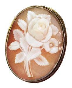 Other antique 925 sterling silver carved cameo floral brooch pendant charm