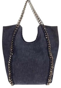 Stella McCartney Whipstitch Chain Tote in Denim Blue Gray