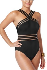 Kenneth Cole KENNETH COLE STOMPIN IN STILETTOS ISLLUSION STRIPED SWIM SUIT S BLACK
