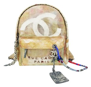 Chanel Canvas Beige School Art Graffiti Backpack