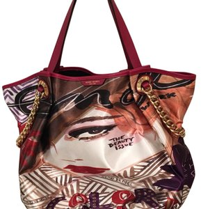 Henri Bendel Tote in Multi - red, white, purple