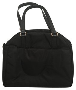 Lo & Sons And Laptop Tote in Black with Gold Hardware, Camel Nylon Interior
