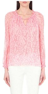 Diane von Furstenberg Silk Pink Coral Neck Tie Dvf Top light pink