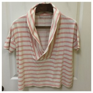 Ann Taylor LOFT Pullover Large Pink Top Cream/Pink