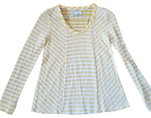 Anthropologie Striped Longsleeve Scoop Neck T Shirt Yellow, White