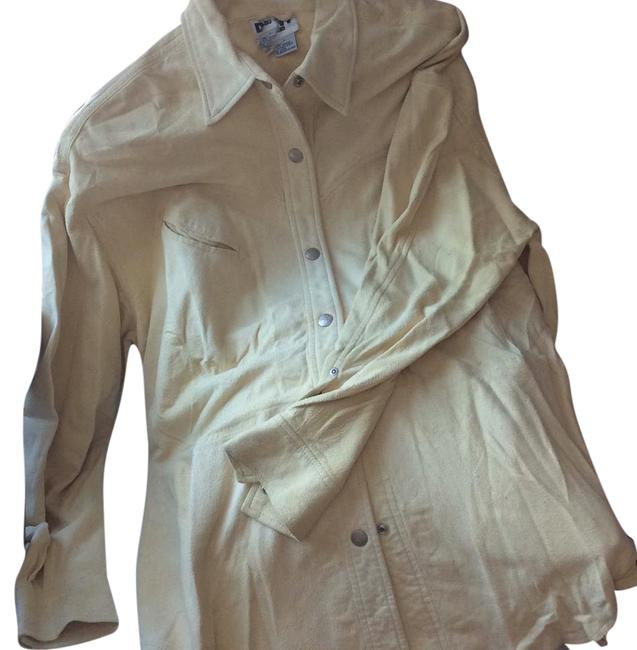 DKNY LEATHER/SUEDE CREAM BUTTON DOWN SHIRT. NEVER WORN. PAID 2000.00. it's been wrapped in plastic to protect it. from LORD AND TAYLORS. Top cream Image 0
