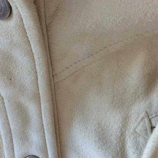 DKNY LEATHER/SUEDE CREAM BUTTON DOWN SHIRT. NEVER WORN. PAID 2000.00. it's been wrapped in plastic to protect it. from LORD AND TAYLORS. Top cream Image 2