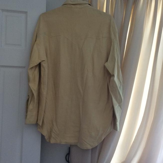 DKNY LEATHER/SUEDE CREAM BUTTON DOWN SHIRT. NEVER WORN. PAID 2000.00. it's been wrapped in plastic to protect it. from LORD AND TAYLORS. Top cream Image 3