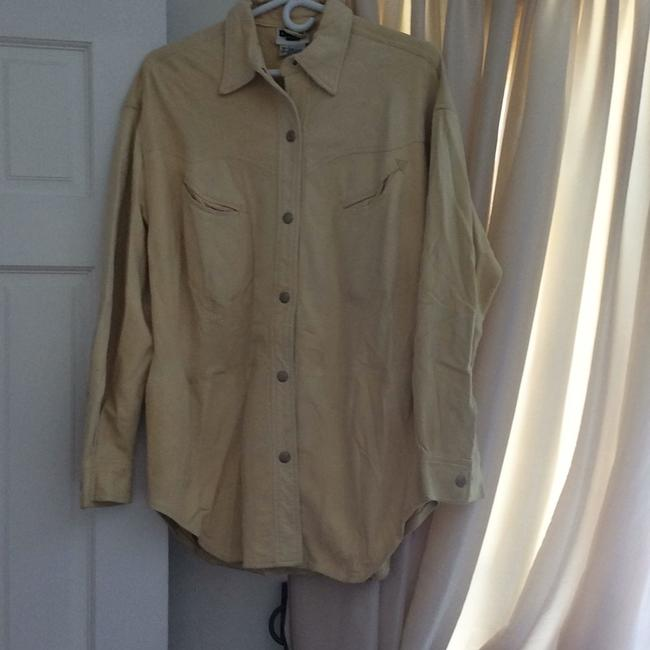DKNY LEATHER/SUEDE CREAM BUTTON DOWN SHIRT. NEVER WORN. PAID 2000.00. it's been wrapped in plastic to protect it. from LORD AND TAYLORS. Top cream Image 4