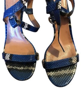 Sergio Rossi Blue and Grey Snakeskin Sandals