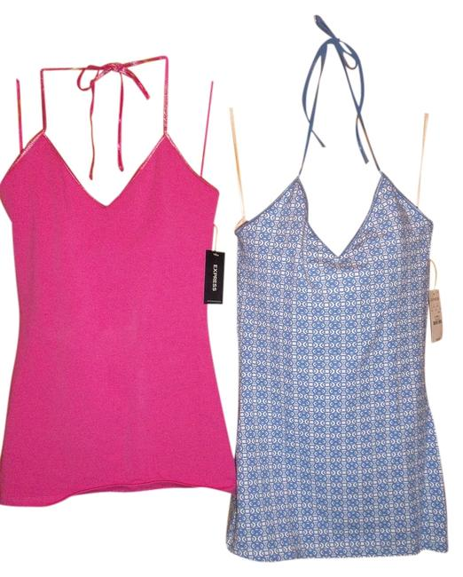 Preload https://item3.tradesy.com/images/express-halter-top-pink-and-blue-2100457-0-0.jpg?width=400&height=650