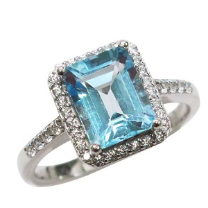 9.2.5 Gorgeous sky blue topaz square cocktail ring size 7
