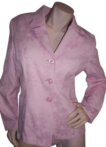 Sag Harbor Easter Cotton Blend Front Button Down Dress Jacket Pink Blazer