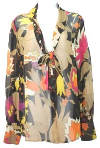 ESCADA Print Silk Sheer Long Sleeves Size 44 Nwt Retail $1150 Top MULTICOLOR