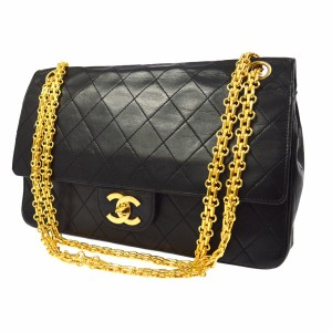 Chanel Lambskin Vintage Leather Chain Double Flap Shoulder Bag