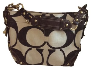 Coach Satchel in cream and brown