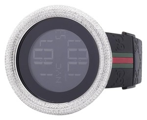 Gucci Mens I Gucci Digital White Case Full Diamond Watch 7.5 Ct YA114207