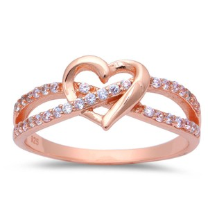 9.2.5 Unique rose gold dipped white sapphire heart ring size 6
