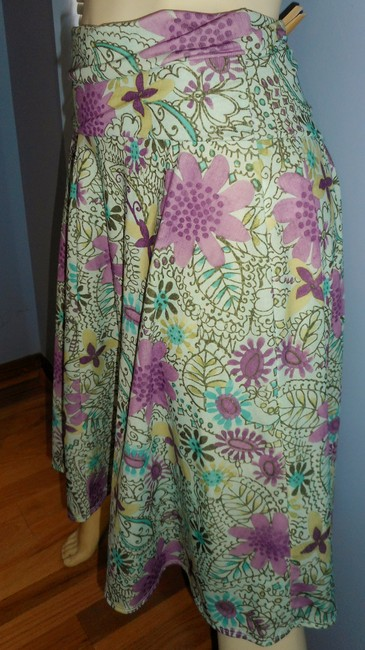 Weekenders No Iron Floral 2018 Spring Colors Paisley Skirt pink, lavender, gold, brown, ivory & teal Image 1