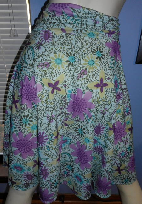 Weekenders No Iron Floral 2018 Spring Colors Paisley Skirt pink, lavender, gold, brown, ivory & teal Image 3
