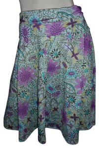 Weekenders No Iron Floral Paisley Lavender Spring Skirt pink, purple, gold, brown, ivory & teal