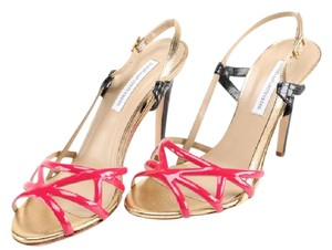 Diane von Furstenberg Leather Snakeskin raspberry (pink), gold, black Sandals