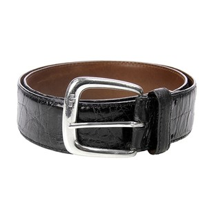 Ralph Lauren Ralph Lauren Black Alligator Sterling Silver Buckle Belt