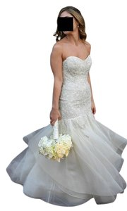 """Liancarlo Platinum Ivory Crystal Encrusted """"Grapevine"""" Embroidery Drop-torso Strapless Gown W/Skirt Ruffles In Shell Style 6810 Feminine Wedding Dress Size 4 (S)"""