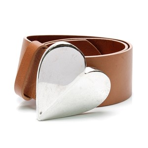 Moschino Moschino Brown Leather Heart Buckle Belt