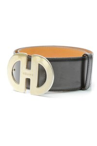 Cline Celine Black Leather & Gold-Tone Buckle Belt