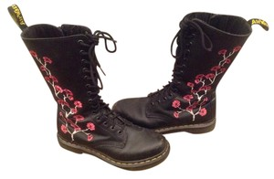 Dr. Martens Black with pink flowers Boots