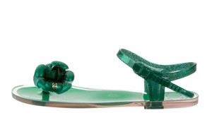 Chanel Interlocking Cc Camellia Jelly Gold Hardware Glitter Green, Gold Sandals