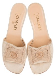 Chanel Interlocking Cc Logo Gold Hardware Suede Beige Sandals