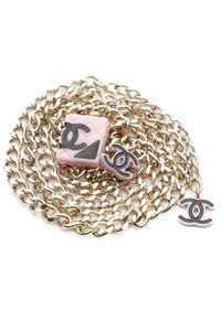 "Chanel Chanel Gold-Tone & Pink Cambon ""CC"" Chain Belt"
