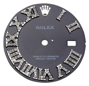 Rolex Custom Pave Set Diamond Charcoal Grey Dial for Rolex Watch 0.75ct