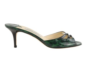 Jimmy Choo Leather Patent Leather Green and Black Sandals