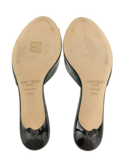 Jimmy Choo Leather Patent Leather Green and Black Sandals Image 10