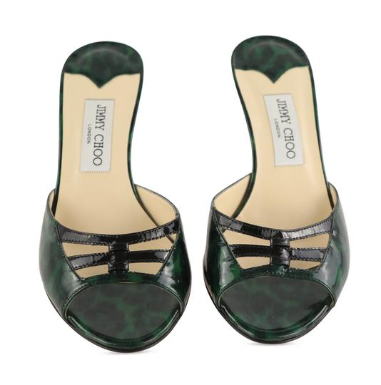 Jimmy Choo Leather Patent Leather Green and Black Sandals Image 2