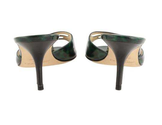 Jimmy Choo Leather Patent Leather Green and Black Sandals Image 3