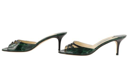 Jimmy Choo Leather Patent Leather Green and Black Sandals Image 4