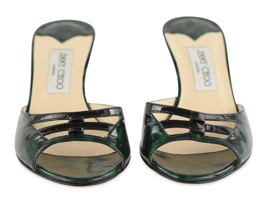 Jimmy Choo Leather Patent Leather Green and Black Sandals Image 5
