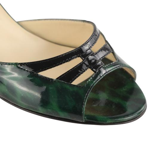 Jimmy Choo Leather Patent Leather Green and Black Sandals Image 7