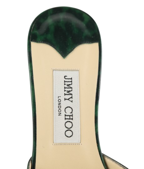 Jimmy Choo Leather Patent Leather Green and Black Sandals Image 9