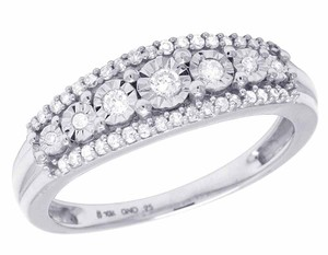Other Ladies 10K White Gold Genuine Diamond Miracle Set Band Ring 0.25 CT